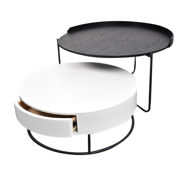 Table ronde noire et blanc CTA 01