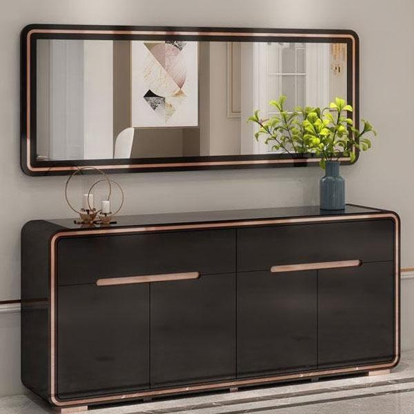 Buffet et miroir noir argenté 99125
